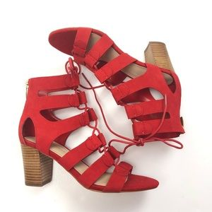 Marc Fisher QM Paradox lace up block heel in red